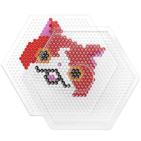 Trendy Beads Template Clear Linkable Large Pegboard Toy for Kids - TRANSPARENT HEXAGON