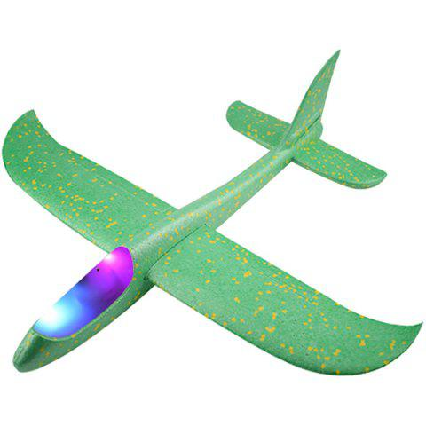 Flying Mini Foam Throwing Glider Inertia LED Night Airplane Toy Model for Kids - CLOVER GREEN