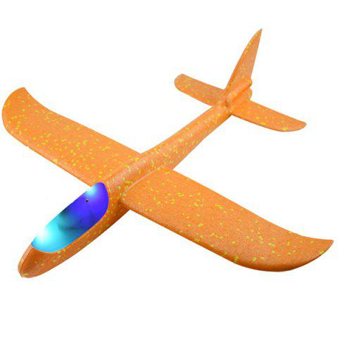 Flying Mini Foam Throwing Glider Inertia LED Night Airplane Toy Model for Kids - BRIGHT YELLOW