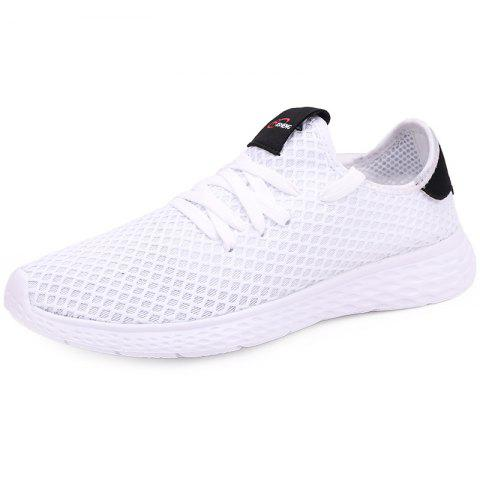 Mesh Breathable Sports Shoes Sneakers for Men - WHITE EU 40