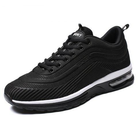 Lace Up Casual Running Shoes Sneakers for Men - BLACK EU 44