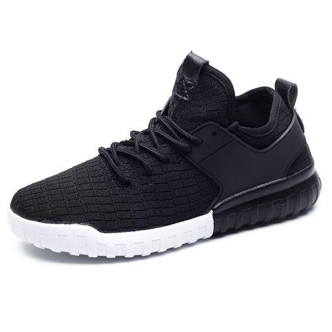 Men Mesh Lace Up Casual Chaussures de sport Baskets - Noir EU 36