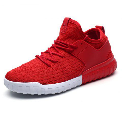 Men Mesh Lace Up Casual Sports Shoes Sneakers - RED EU 45
