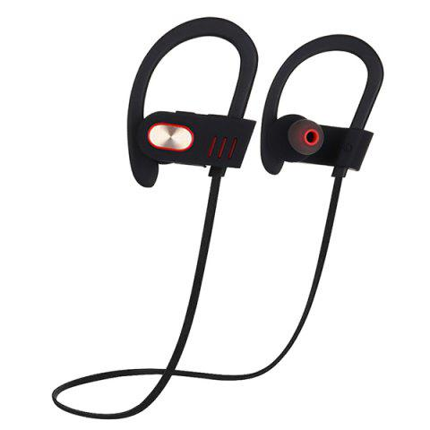 V5 Bluetooth Sports Earphone IPX4 Waterproof HD Stereo Noise Cancelling Earbuds with Mic and Ear Hook - BLACK