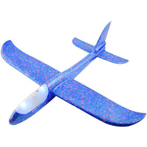 Flying Mini Foam Throwing Glider Inertia LED Night Airplane Toy Model for Kids, Blueberry blue