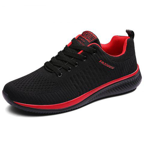 Fashion Breathable Shock-absorbing Woven Sneakers - LAVA RED EU 44