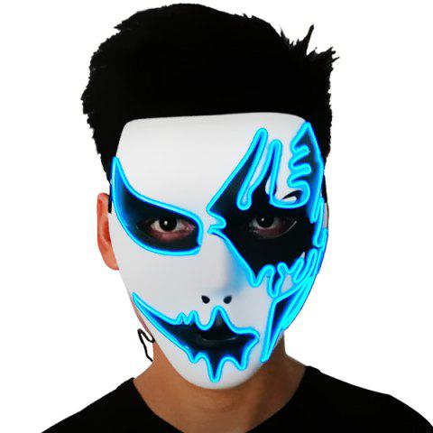 EL Cold Light Glow Hand Painted Mask for Halloween Dance Party Toy - WHITE