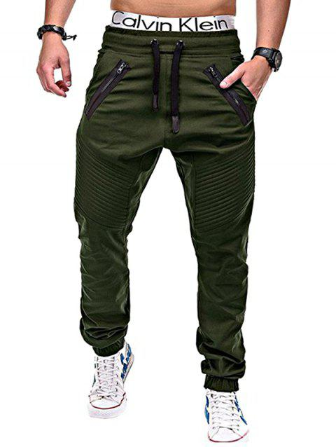 Embellished Elastic Waist Pants for Men - DARK GREEN 2XL