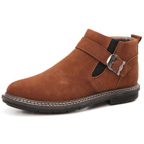 Men's High-top Warm Leather Boots - BROWN EU 44