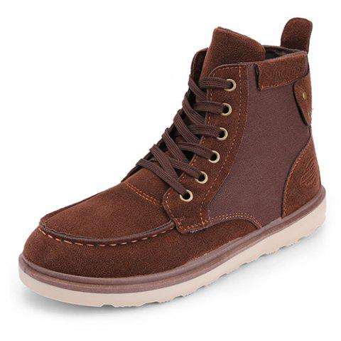 Suede Canvas High Shoes Boots for Men - BROWN EU 40