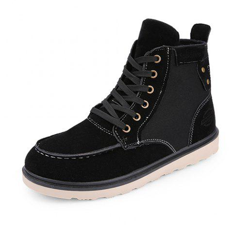 Suede Canvas High Shoes Boots for Men - BLACK EU 39