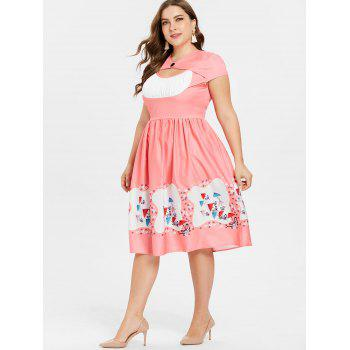 Plus Size Cap Sleeve A Line Dress - PINK 2X