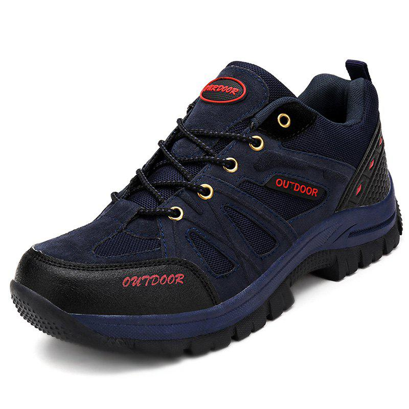 Stylish Outdoor Breathable Men Lace-up Sneakers - DEEP BLUE EU 40