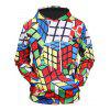 Creative Geometrical Print Hoodie Sweatshirt - multicolor G 3XL