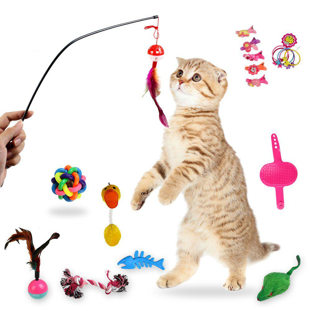 Funny Cat Molar Sound Teasing Interactive Toy 18pcs - multicolor