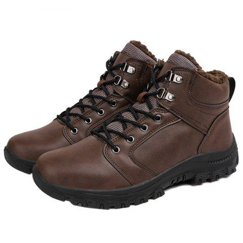 Stylish Lace-up Ankle Brushed Shoes Boots for Men - BROWN EU 39