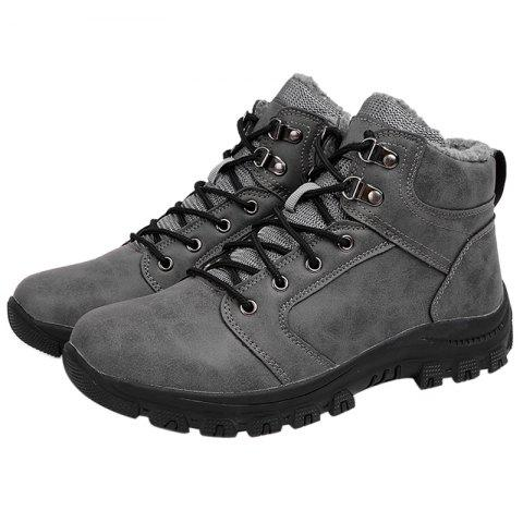 Stylish Lace-up Ankle Brushed Shoes Boots for Men - GRAY EU 42