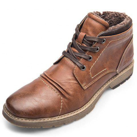 XPER Warm Comfortable Leisure High-top Lace-up Boots for Men - BROWN EU 44