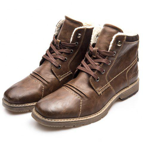 XPER Fashion Warm Comfortable Leisure High-top Boots for Men - BROWN EU 44