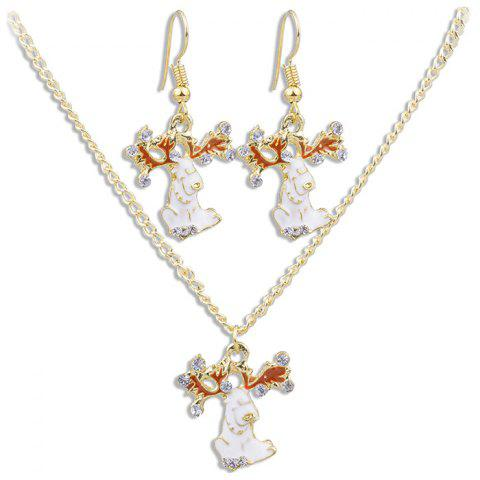 White Fawn Pattern Necklace Earrings Jewelery Set - GOLD