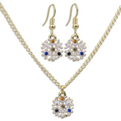 White Snowflake Pattern Necklace Earrings Jewelery Set - GOLD