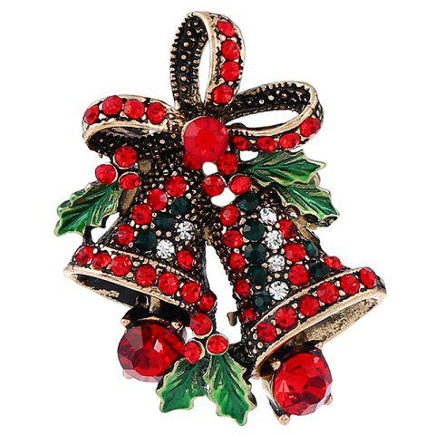 BR1349 Vintage Bell Style Christmas Brooch - SILVER