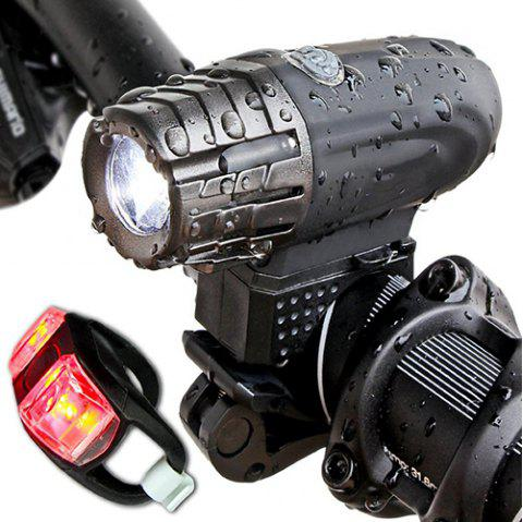 Portable USB Rechargeable Bike Light Bicycle Headlight Taillight - BLACK