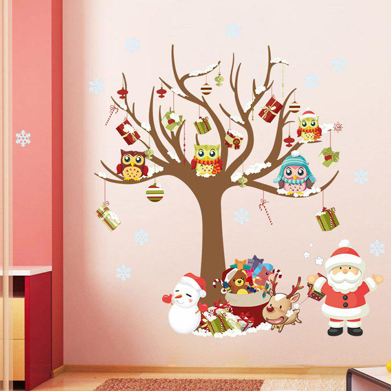 Christmas Tree Santa Claus Pattern Wall Sticker for Children's Room Bedroom Decoration - multicolor A