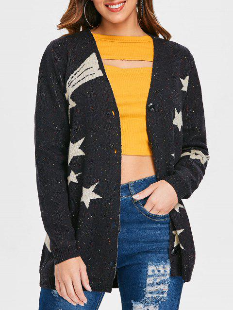 Button Star Graphic Long Cardigan - multicolor S
