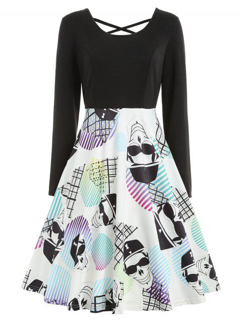 Halloween Skull Print Criss-cross Dress - BLACK XL