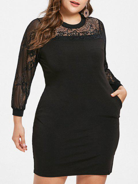 Round Neck Plus Size Lace Panel Knee Length Dress - BLACK 5X