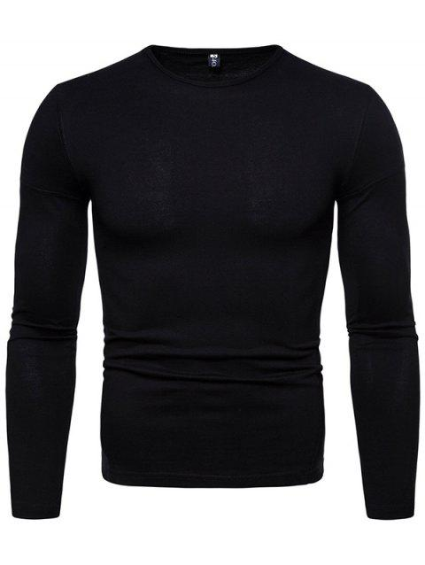 Stylish Comfortable Solid Color Long Sleeve Tee - BLACK XL