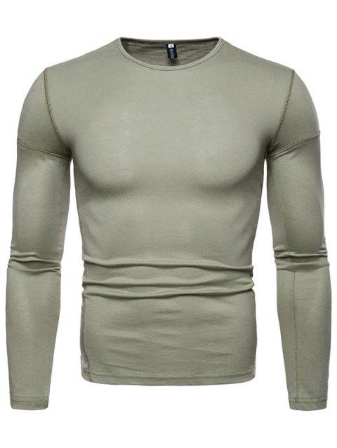 Stylish Comfortable Solid Color Long Sleeve Tee - GREEN L