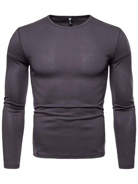 Stylish Comfortable Solid Color Long Sleeve Tee - CARBON GRAY 2XL