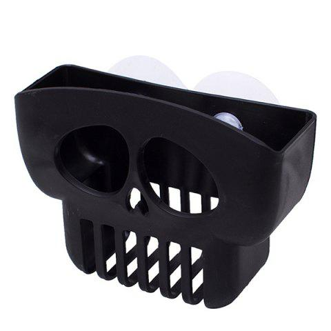 Double Suction Cup Dish Washing Sink Drain Storage Rack - BLACK