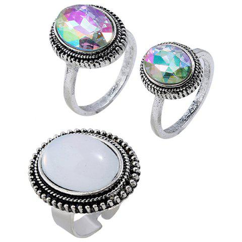 Oval Starry Sky Style Finger Ring 3pcs - multicolor A