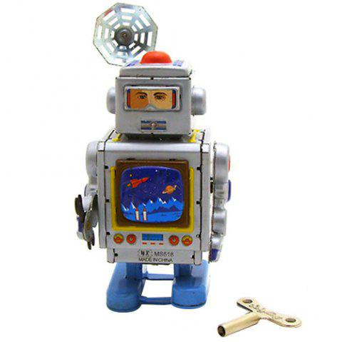 Creative Retro Tin Space Robot Ornament Clockwork Toy - SILVER