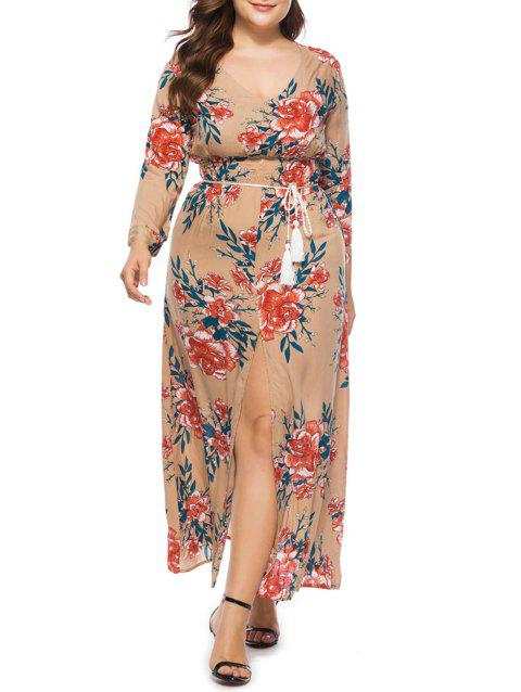 17% OFF] 2019 Plus Size Empire Waist Maxi Dress In APRICOT | DressLily