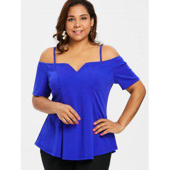 Plus Size Short Sleeve Cami T-shirt - BLUE 5X