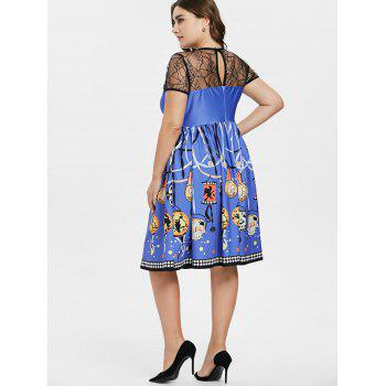 Plus Size Halloween Pumpkin Vintage Dress - LIGHT SLATE BLUE 3X