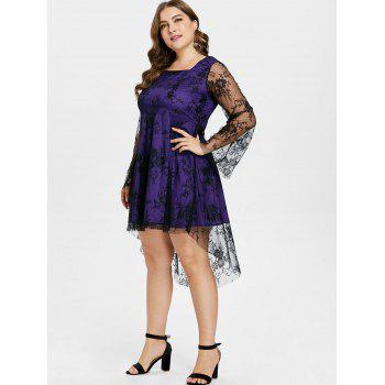 Plus Size Dip Hem Square Neck Dress - PURPLE AMETHYST 3X