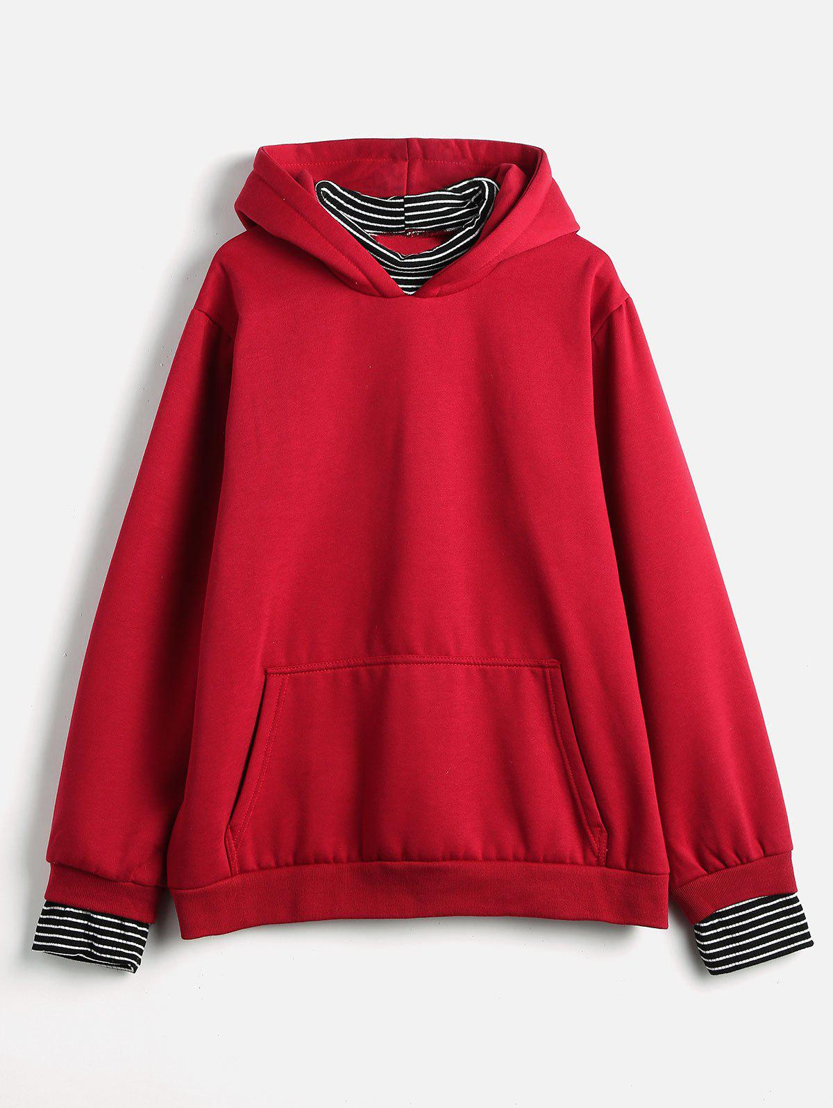 Plus Size Striped Panel Hoodie - RED 1X