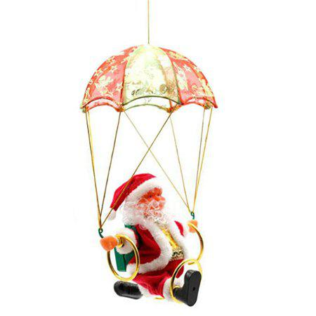 Electric Santa Claus Parachute Circle Acrobatic Doll Toy - RED
