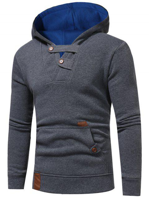 Fashion Leisure Splicing Hooded Men Hoodies Coat - SLATE GRAY 2XL