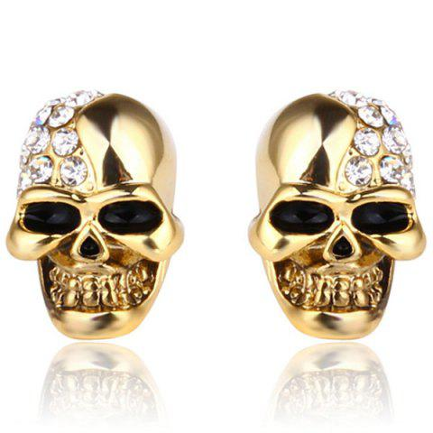 Fashion Skull Stud Earrings - GOLD