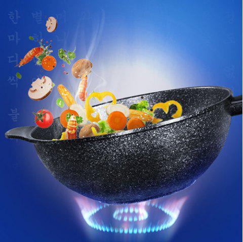 Stone Round Non Stick Frying Pan Pot 32cm - BLACK