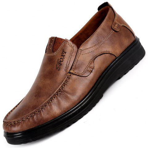 Trendy Comfortable Business Leisure Soft Casual Flat Shoes for Men - LIGHT BROWN EU 48
