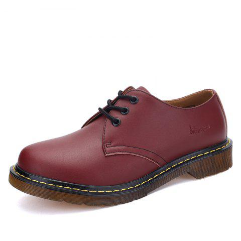 Men's Oxford Shoes Genuine Leather Sewing Thread - RED WINE EU 37