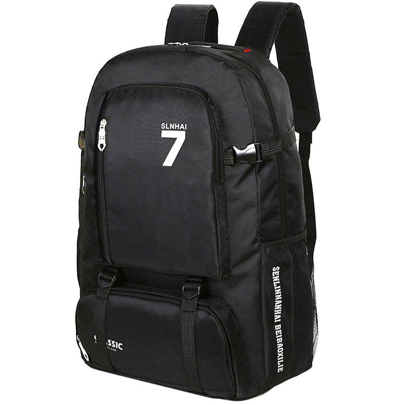 Waterproof Multi-function Student Backpack for Sports Travel - BLACK WITH  WHITE