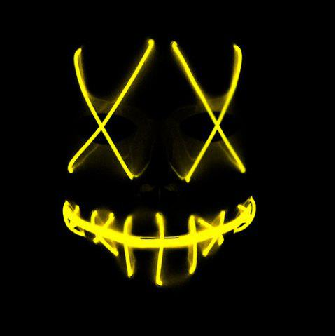 Halloween EL Wire Ghost Mask Cold LED Light up Toy - YELLOW